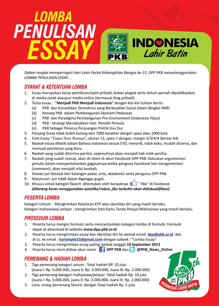 formulir lomba essay Silahkan mengunduh formulir pendaftaran dan buku panduan peserta lomba essay nasional airlangga chemistry on weekend formulir pendaftaran lomba essay dan poster ilmiah buku panduan peserta acw.